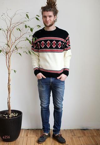 1960s Vintage Knitting Pattern Nordic Sweaters Unisex Boyfriend Jumpers Fairisle Scandi Folk Styl Vintage Knitwear Vintage Knitting Patterns Nordic Sweater