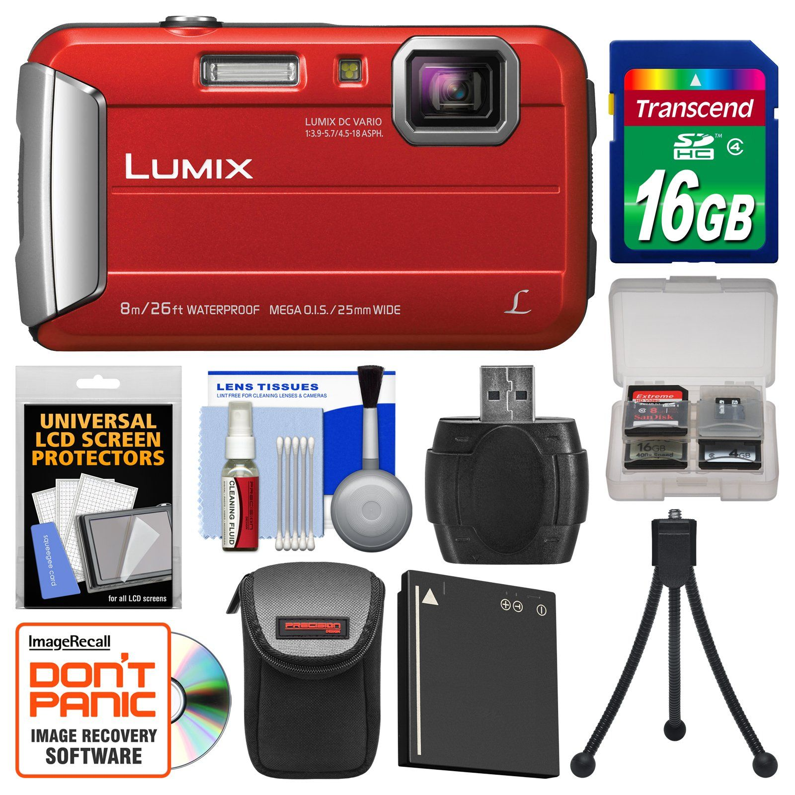 Panasonic Lumix Dmc Ts30 Tough Shock Waterproof Digital Camera Red With 16gb Card Case Waterproof Digital Camera Best Waterproof Camera Digital Camera