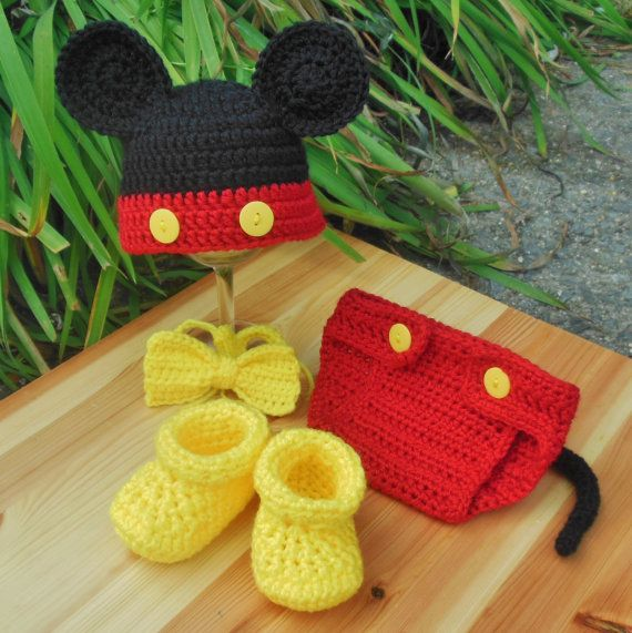 Newborn Mickey Mouse Diaper Cover set photo by BellaBeansCrochet ...