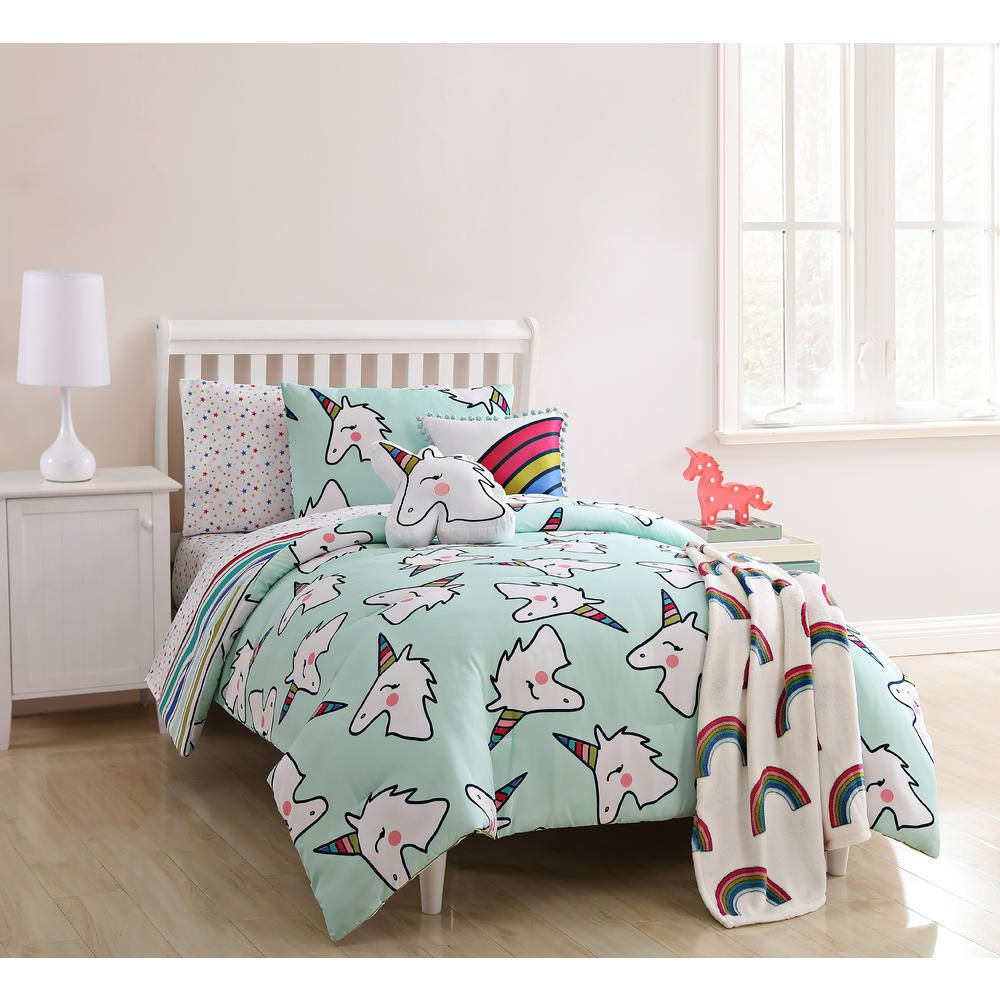 Unicorn Comforter Set Twin Bedding For Girls Rainbow Striped Reversible Colorful Piperkids Modern Comforter Sets Kids Comforter Sets Twin Comforter Sets