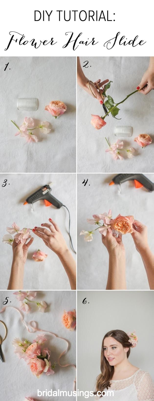 diy flower hair slide tutorial - bridal musings wedding blog