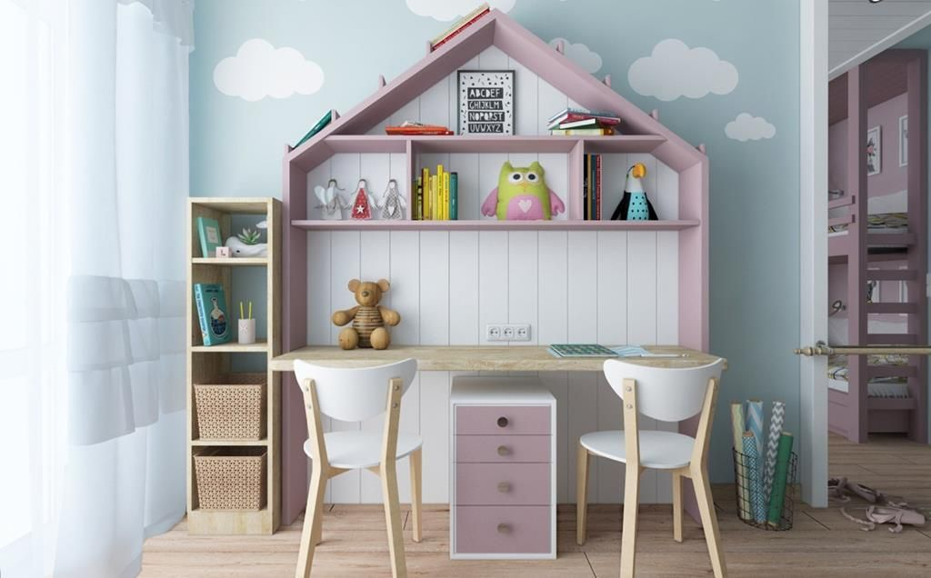 Study table in shared kids room in 2019