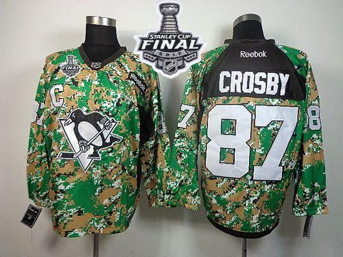4498690a5 Penguins  87 Sidney Crosby Camo Veterans Day Practice 2017 Stanley Cup  Final Patch Stitched NHL