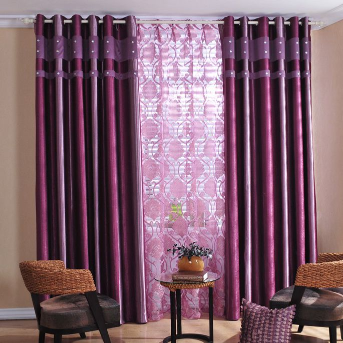 Attractive Printing Living Room or Bedroom Curtains in Purple ...
