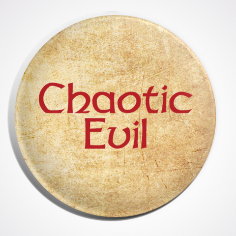 Chaotic Evil Dungeons and Dragons Character Alignment Button Pin Badge