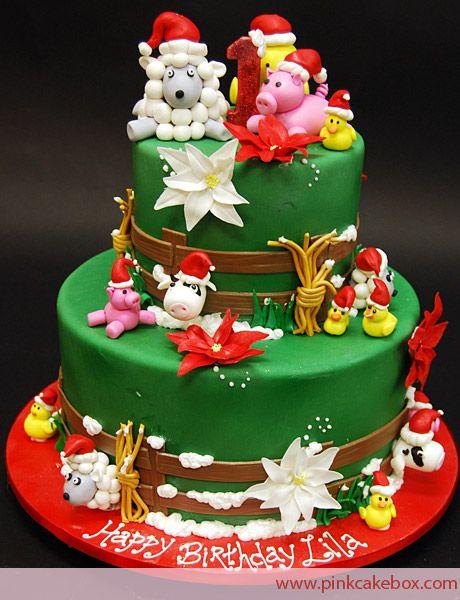 Christmas Holiday Farm Cake Childrens Cakes Christmas birthday
