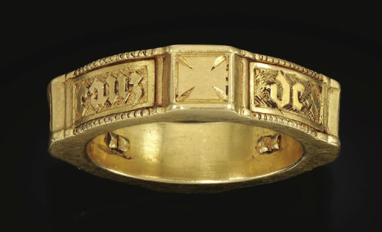 Gold, ENGLISH, 15TH CENTURY  POSEY FINGER RING IN THE FORM OF A KNIGHT'S BELT