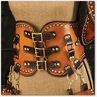 steampunk mini corset  leather utility belt leather