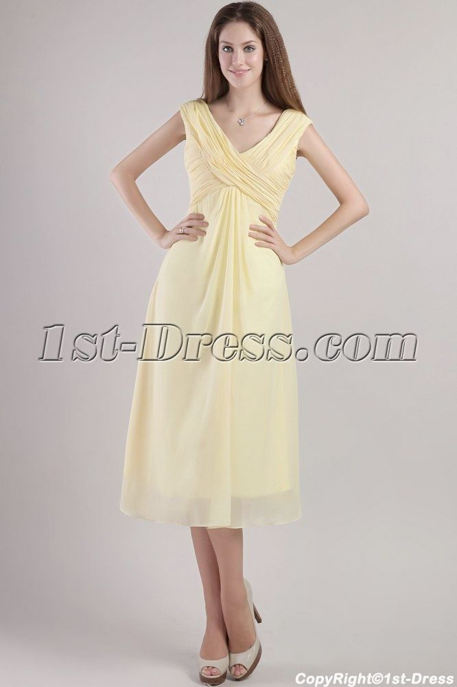Tea Length Mother Groom Dresses | Yellow Tea Length Mother of the ...