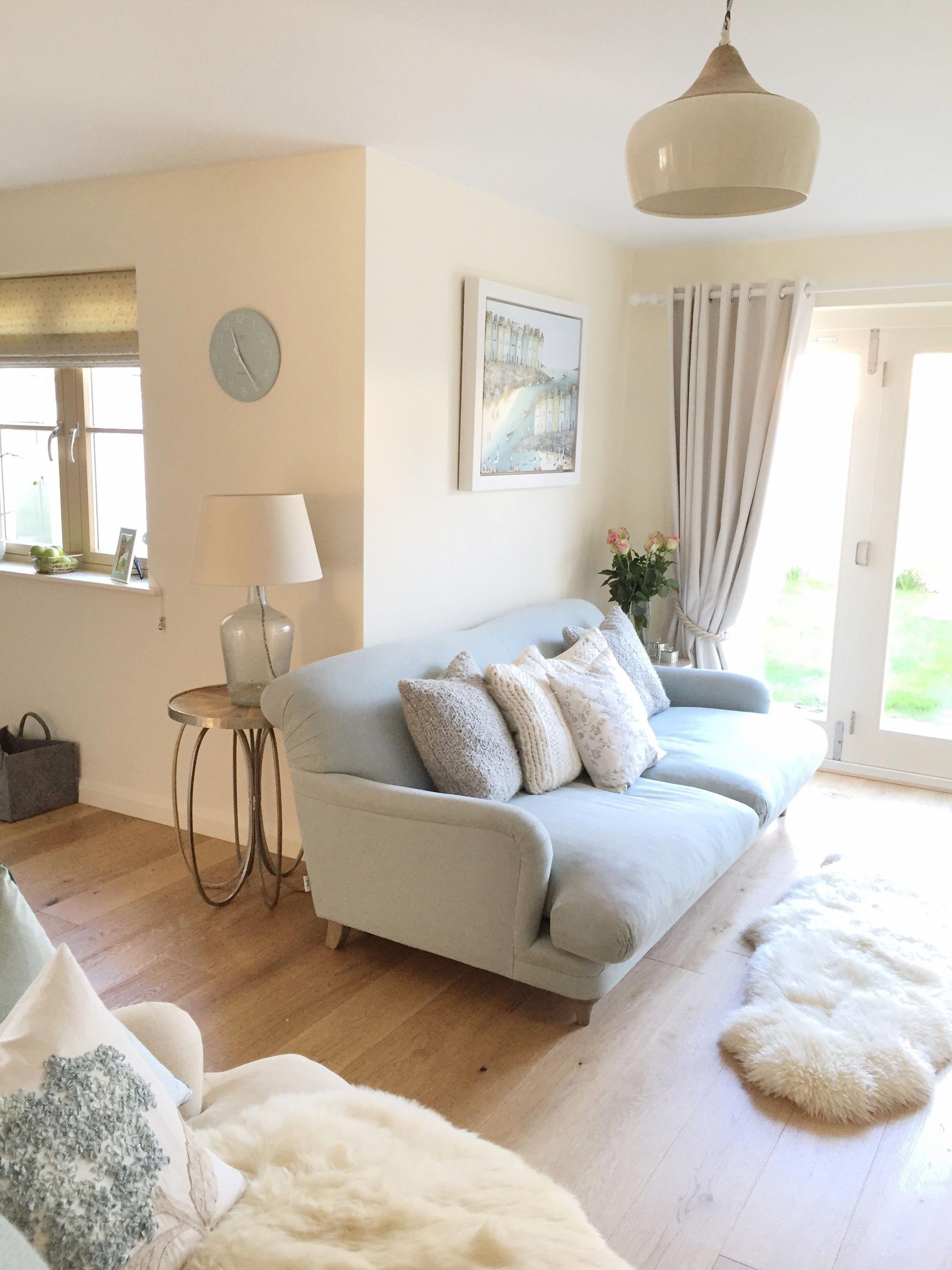 Coastal Lounge With Duck Egg And Cream Loaf Sofa Coastallivingrooms Cream Living Room Decor Blue And Cream Living Room Cream Living Rooms