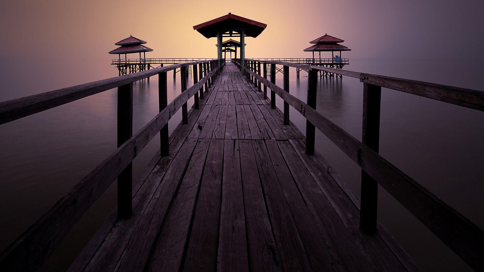 Pier At Kenjeran Beach Surabaya East Java Indonesia Beautiful