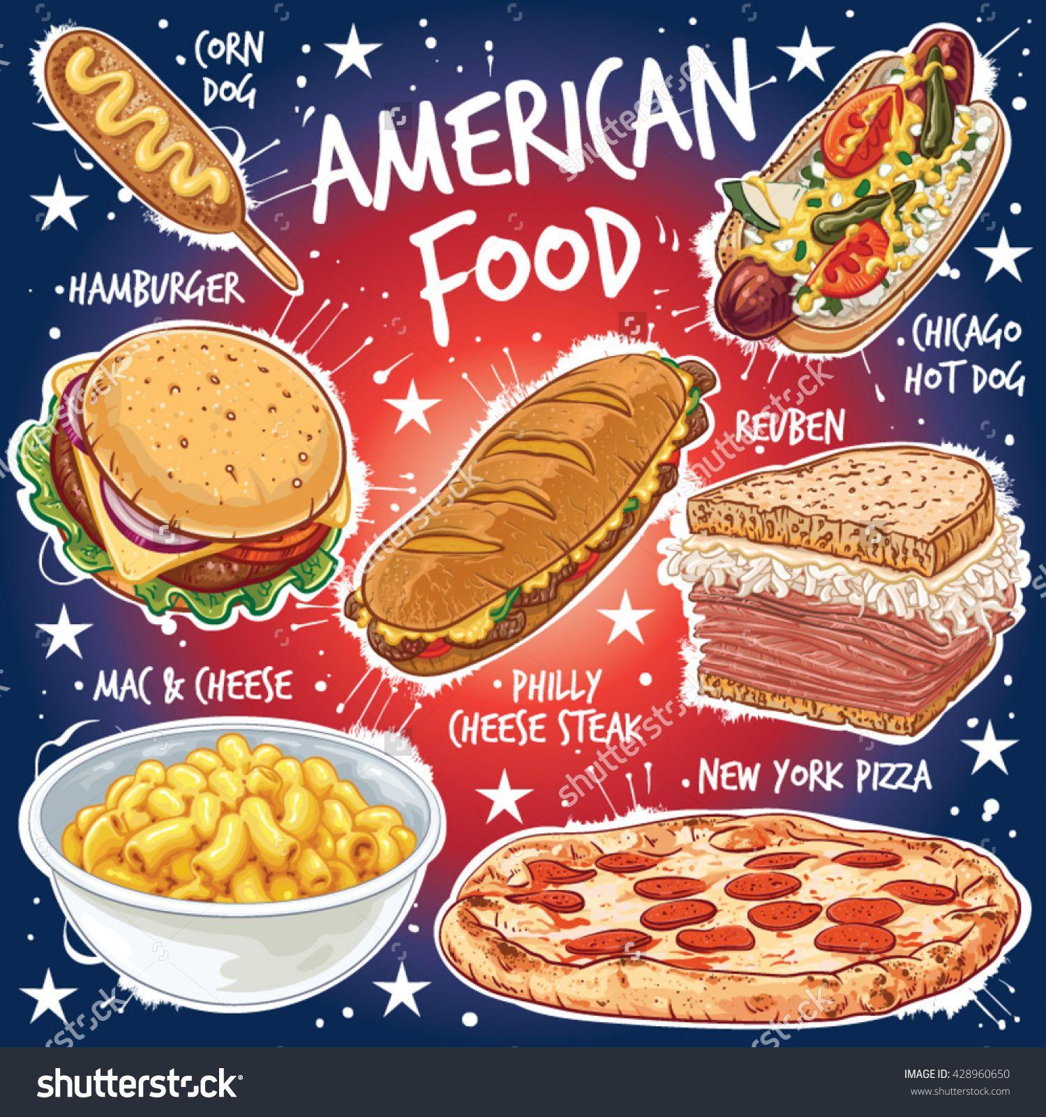 Hand Drawn Vector Illustration Of Seven Popular American Food
