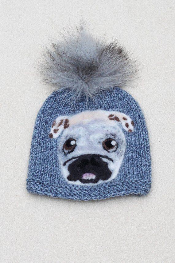 17858fbafde Gray Pug Men Hat Adult Hat With Dog Pom Pom Beanies Pug Hat Animal Dog Hat  Felt Muzzle Dog Hat Knit