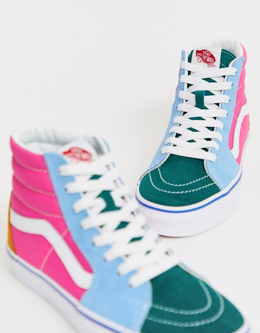 Vans SK8 Hi frayed color block sneakers Multi from ASOS (USA) | ShapeShop