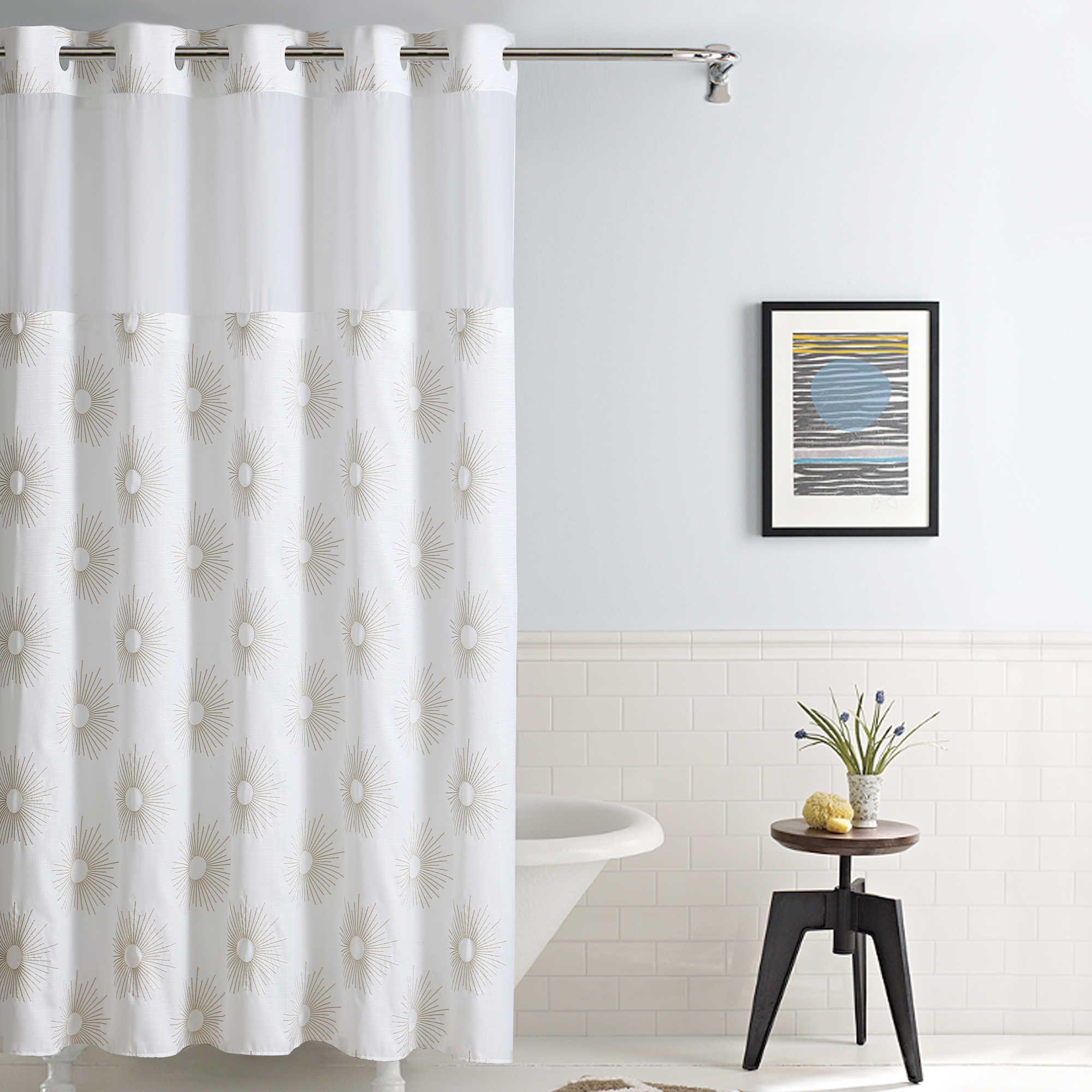 Hookless Sunburst Fabric Shower Curtain In Metallic Gold Fabric