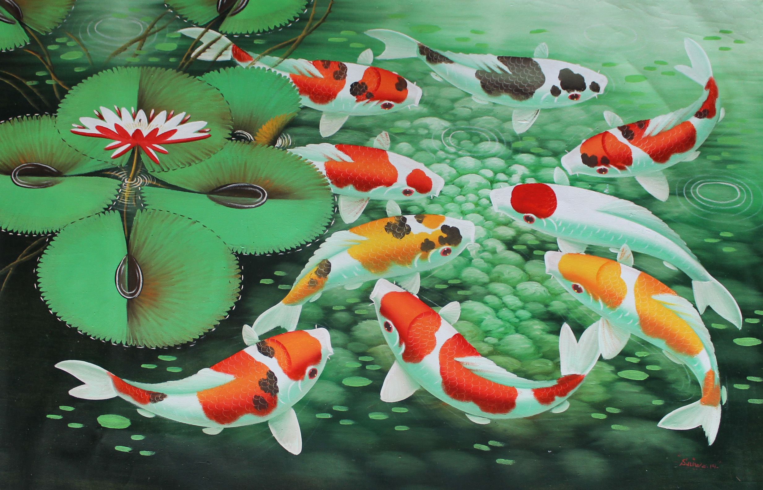 Koi fish painting wallpaper love of koi pinterest for Koi goldfisch