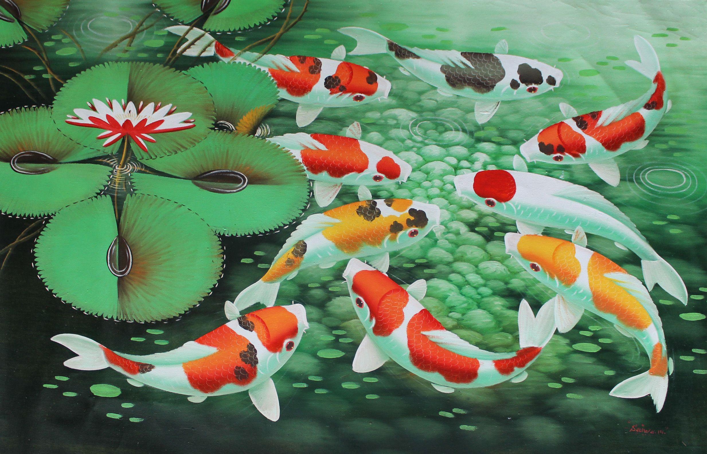 Koi Fish Painting Wallpaper Lukisan Hewan Painting Ikan