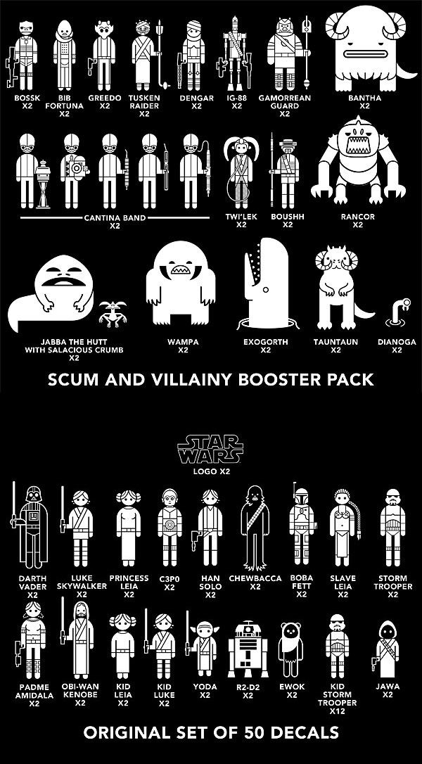 New Scum And Villainy Star Wars Family Car Decals Pack With - Star wars family car decals