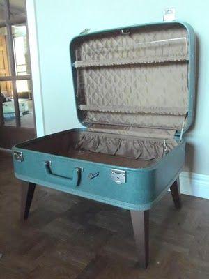 repurposed vintage suitcase into table - storage. just love it ...