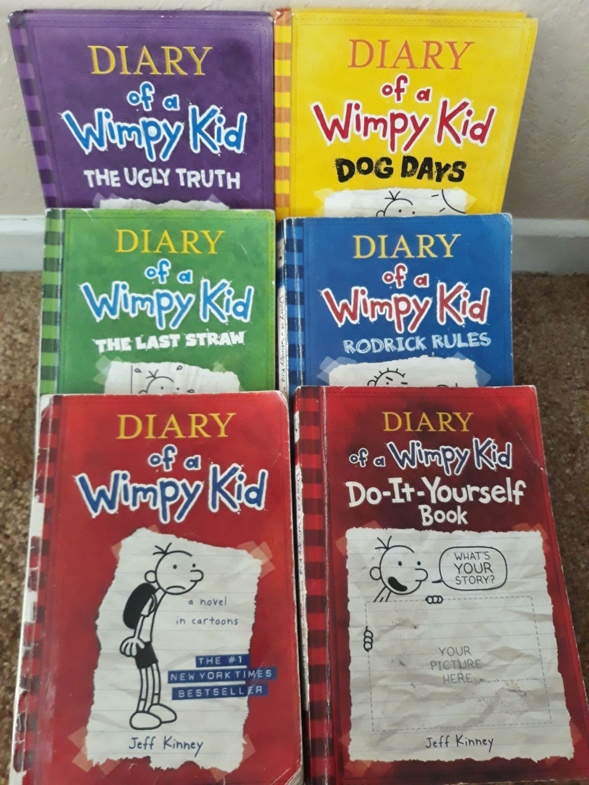 6 Books Of Diary Of A Wimpy Kid The 1st Book Has Tape On The Spine It Was Very Used The Book Do It Yourself Has Some Pages Filled In
