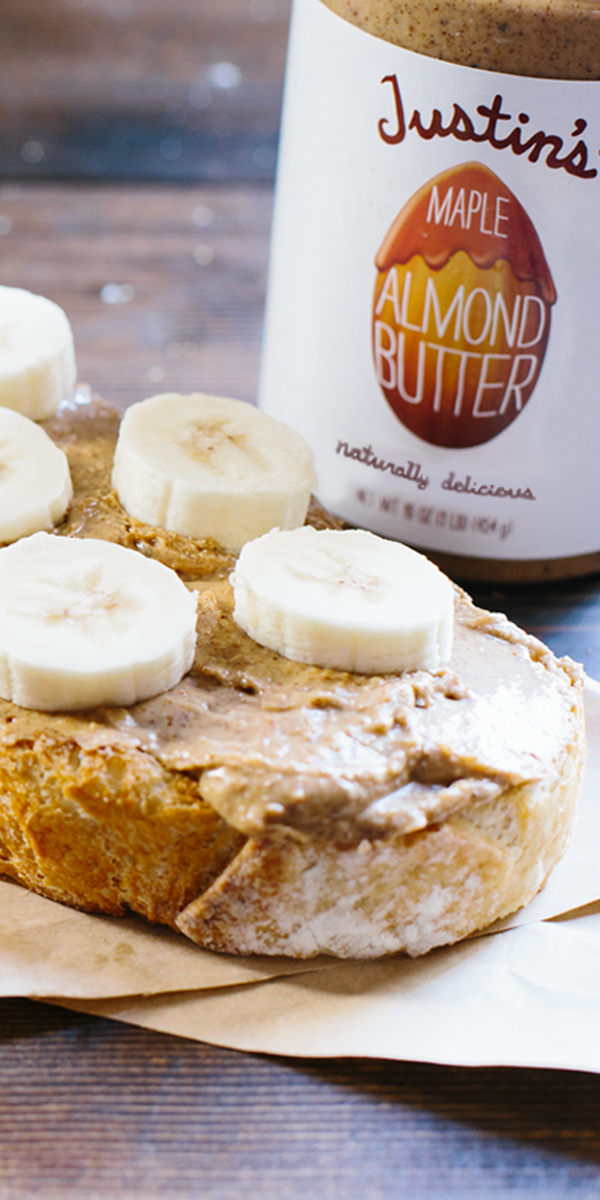 For a super healthy, super yummy post-workout snack, grab a hearty slice of multi-grain toast, slather it with some Justin's Maple Almond Butter and slice a ripe banana over the top. For other on-the-go snack ideas, visit SincerelyJustin.com