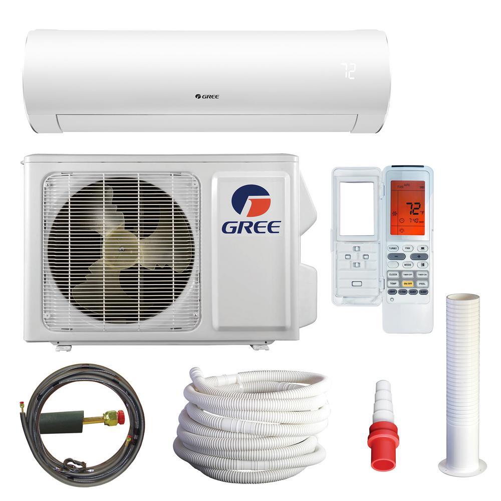 Gree Sapphire 9000 Btu 0 75 Ton Wi Fi Ductless Mini Split Air Conditioning With Heat Kit 230 Volt 208 Volt 60hz White Heat Pump System Heat Pump Air Conditioning System