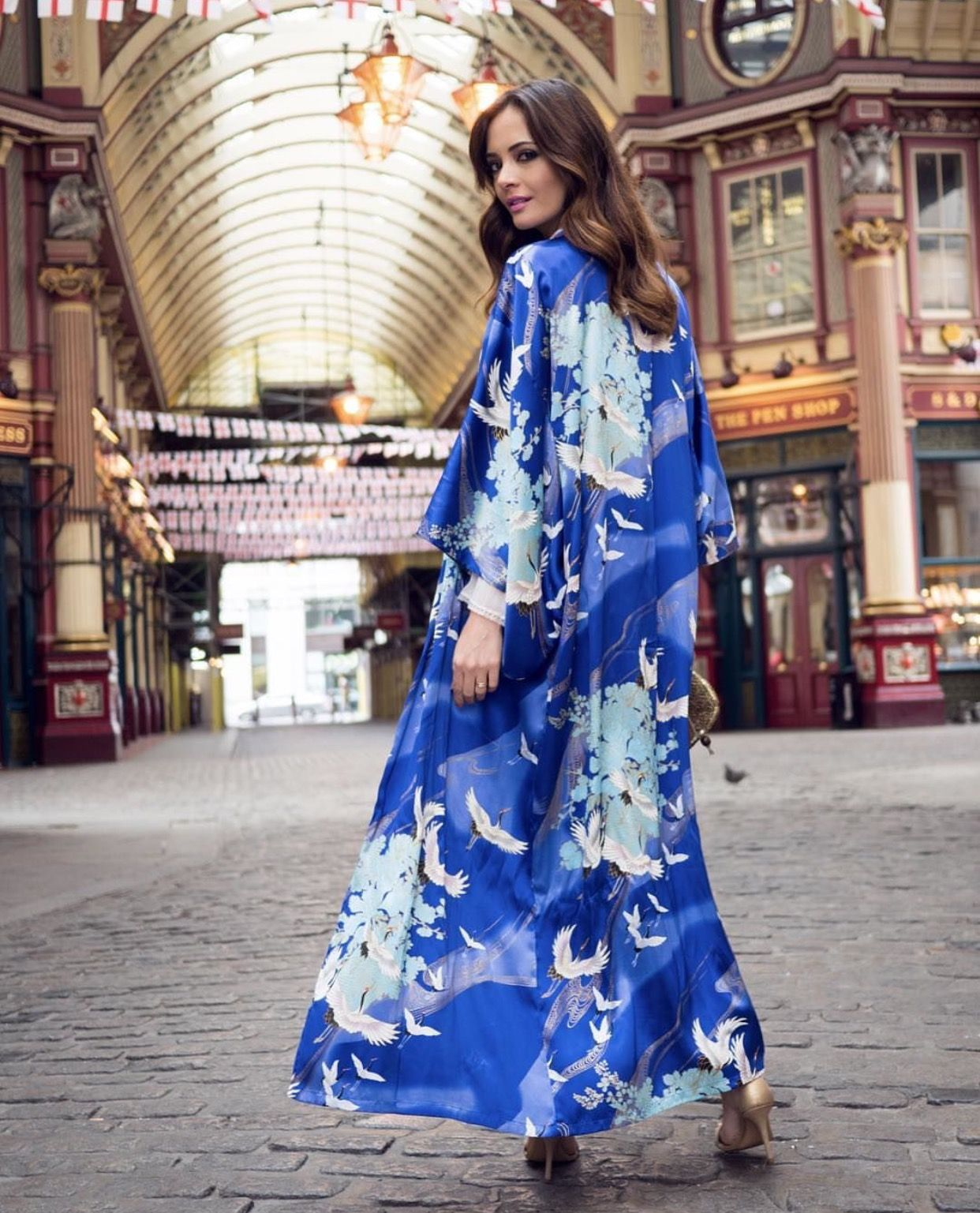 Navy Blue Crane Long Japanese Cotton Kimono