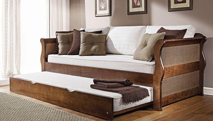 Sof cama nevada com bicama estrutura de madeira maci a for Divan cama fabrica