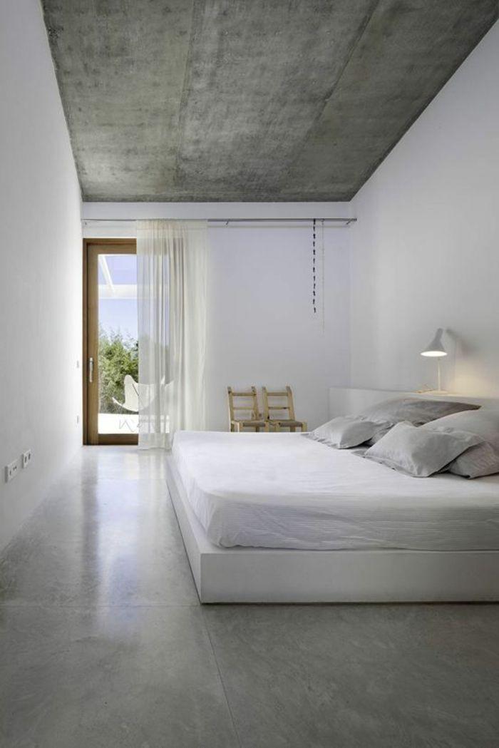 jolie chambre a coucher avec béton décoratif, sol en beton gris ...