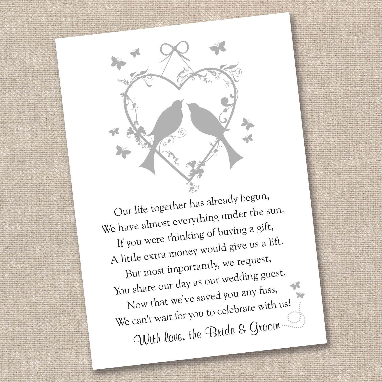 Wedding Invite Poems Asking For Money For Honeymoon: 25 X Vintage Lovebirds Wedding Poem Cards For Your