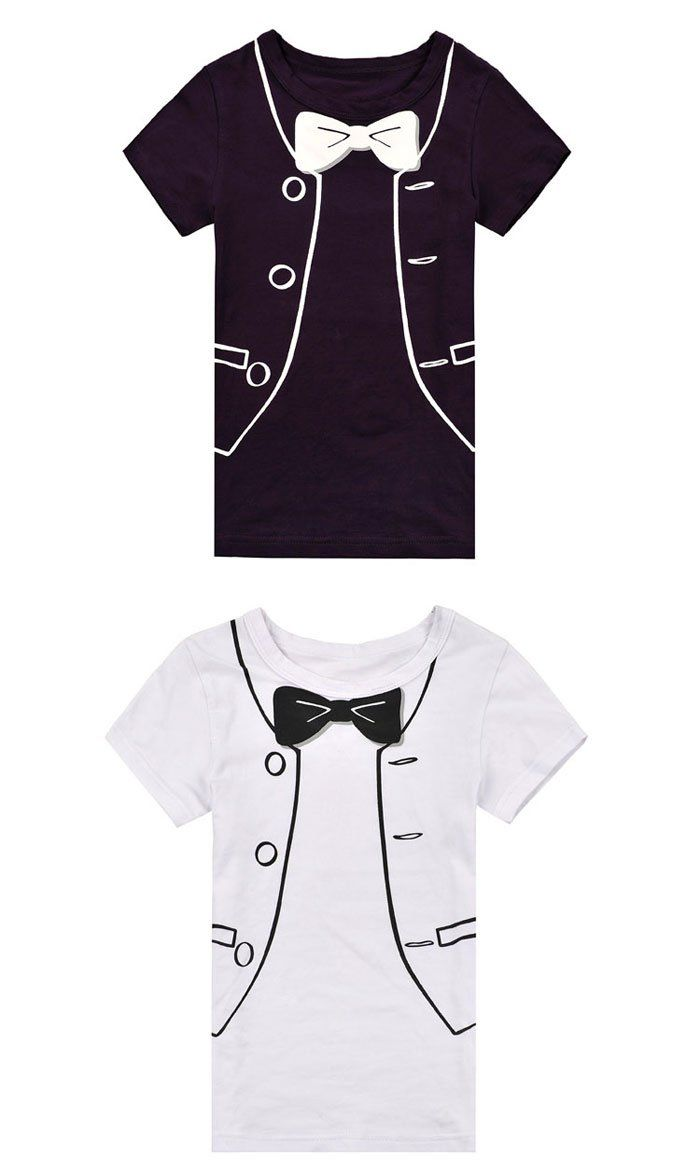 Creative Tuxedo Graphics Casual T-Shirt Short Sleeve for Kids