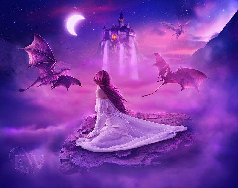 Fantasy Dragons Pink And Purple Art Print Poster Art