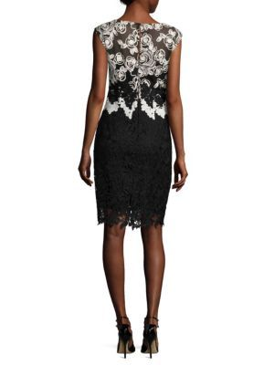 KAY UNGER Lace Cap Sleeves Cocktail Dress in Black White