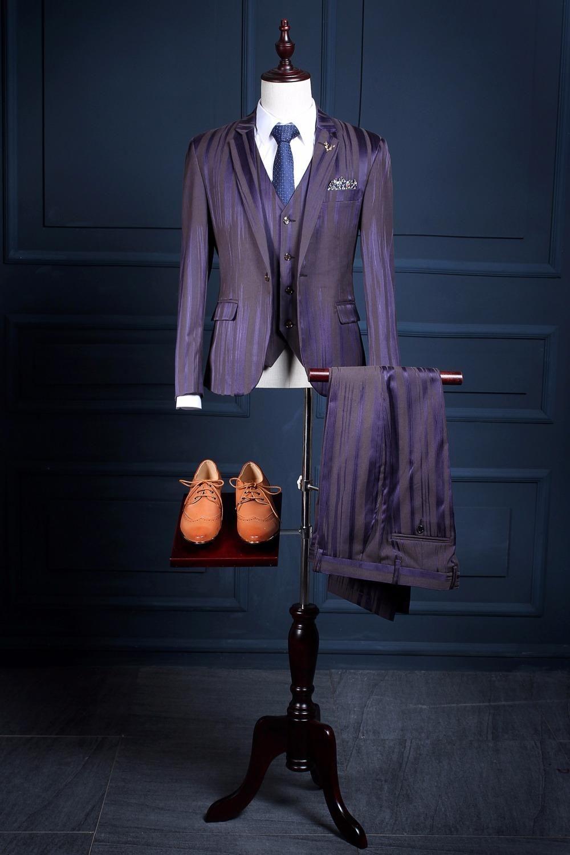 Latest Coat Pant Designs Purple Pattern Men Suit Slim Fit 3 Piece ...