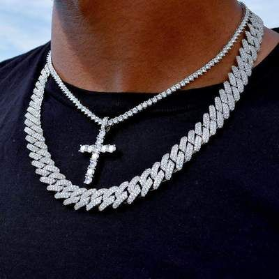 Diamond Prong Set Cuban And Iced Cross Tennis Chain Bundle In 2020 Mens Diamond Necklace Chains For Men Real Diamond Necklace