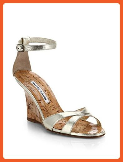 fde3d7dd0834 Manolo Blahnik Women s Metallic Leather Wedge Sandals