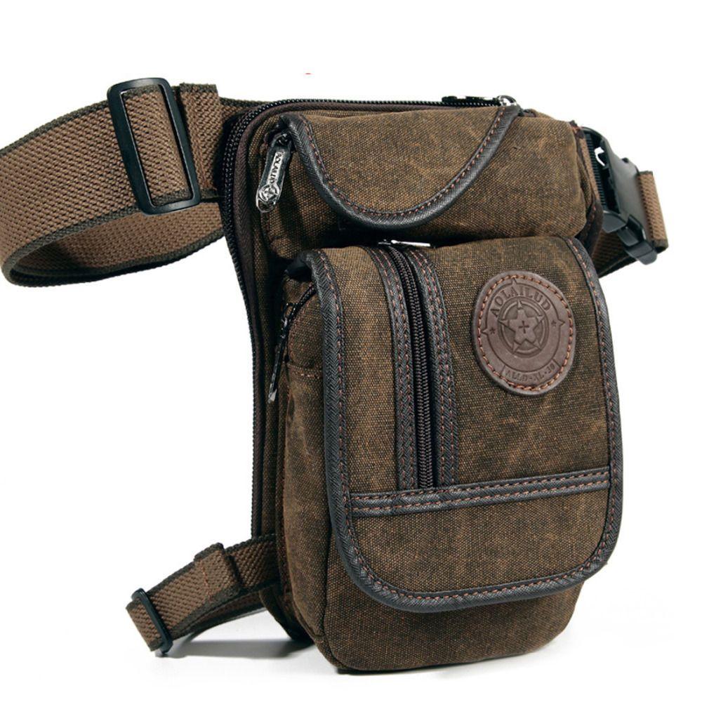 Men Genuine Leather Messenger Fanny Waist Pack Drop Leg Hip Crossbody Camera Bag