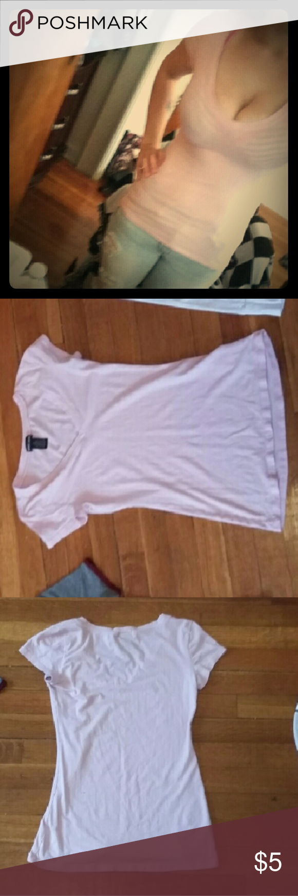 Baby pink short-sleeve basic v-neck t-shirt Basic v-neck t-shirt worn only a couple of times. Wet Seal Tops Tees - Short Sleeve