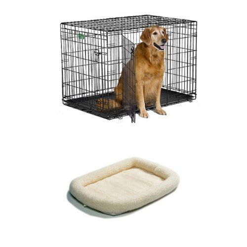 42 Inch Double Door Icrate With Fleece Bed Click Image For More Details This Is An Affiliate Link And I Receive A Co Dog Crate Diy Dog Kennel Kennel Cover