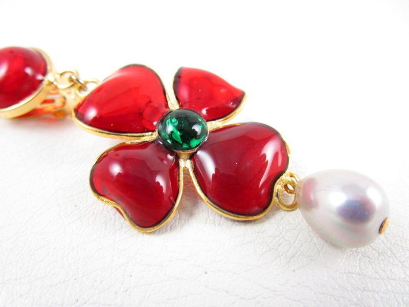 Gorgeous Chanel Inspired Gripoix Glass Red Camellia Earrings Chanel Inspired Vintage Jewelry Gripoix