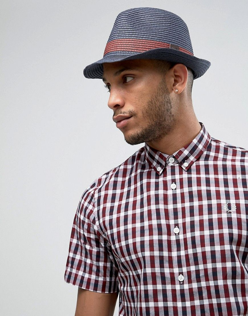 5437c74b4 FRED PERRY STRAW TRILBY IN NAVY - NAVY. #fredperry # | Fred Perry ...
