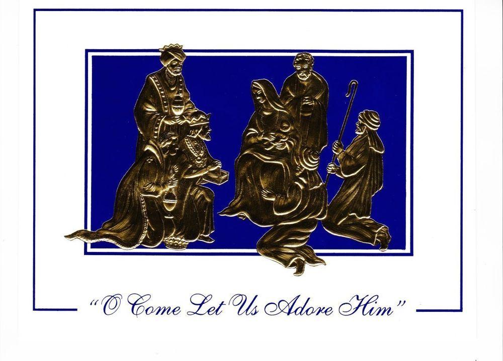 Vintage Lot of 14 Unused Burgoyne Christmas Greeting Cards Gold Foil ...