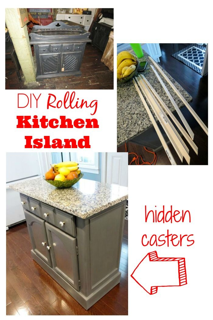 DIY Rolling Kitchen Island Makeover With Hidden Casters Http://www.hometalk.