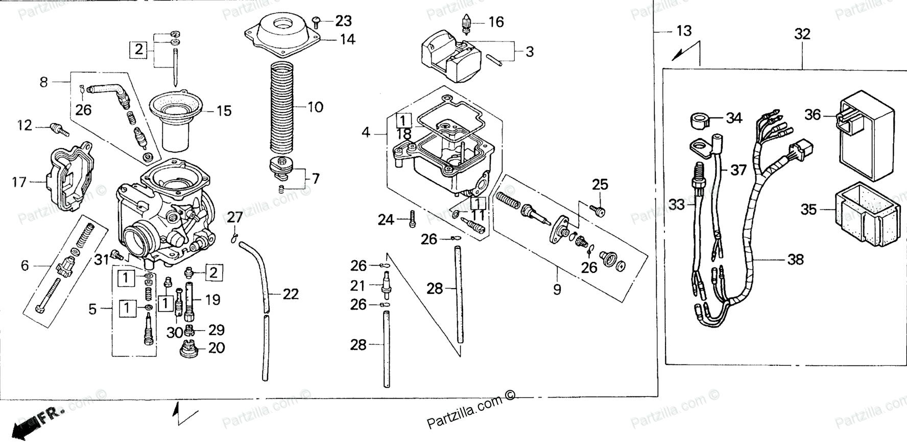 Honda Atv 1999 Oem Parts Diagram For Carburetor Partzilla Com Rh Pinterest  Com Honda HRR216 Parts