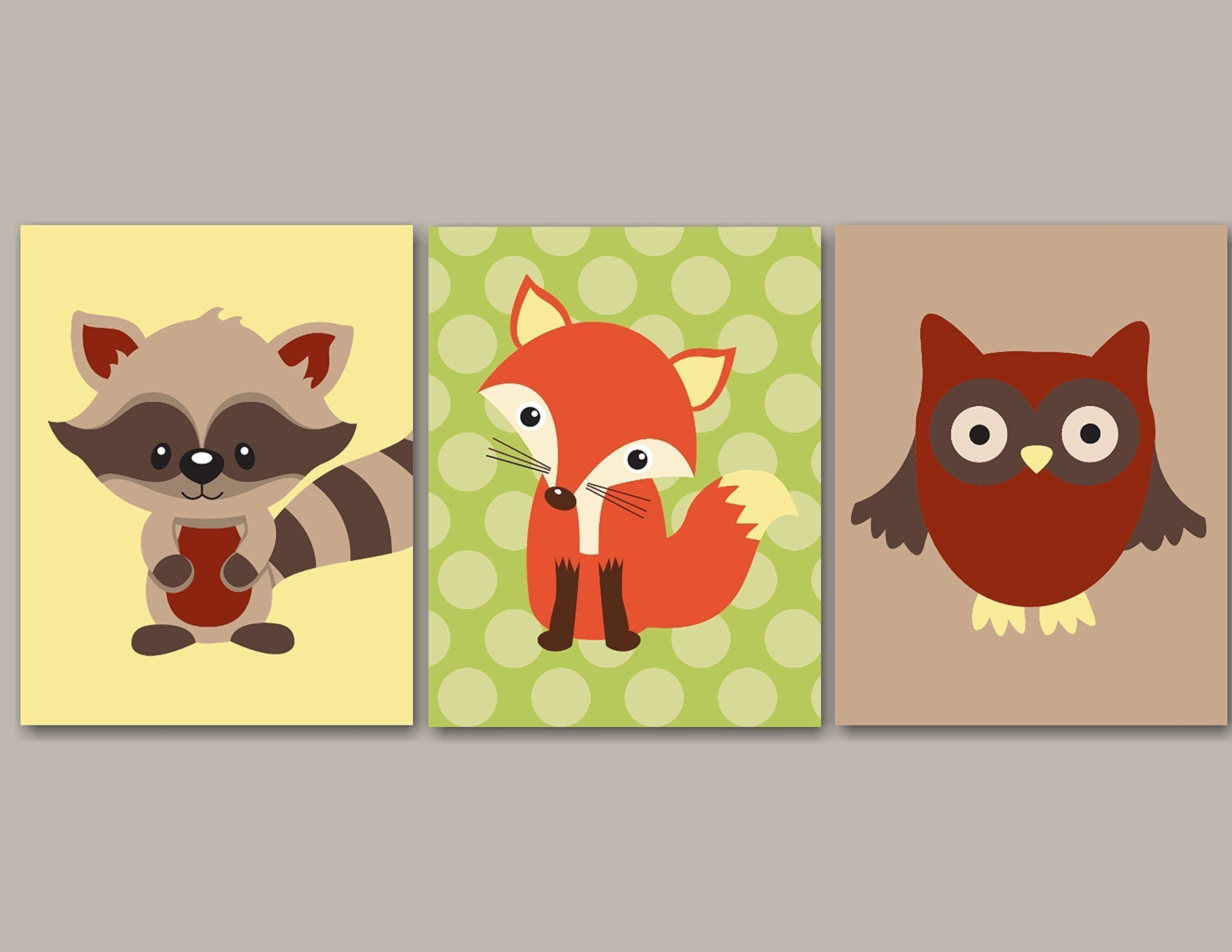 Woodland Nursery Wall Art,Forest Friends Nursery Wall Art,Woodland ...