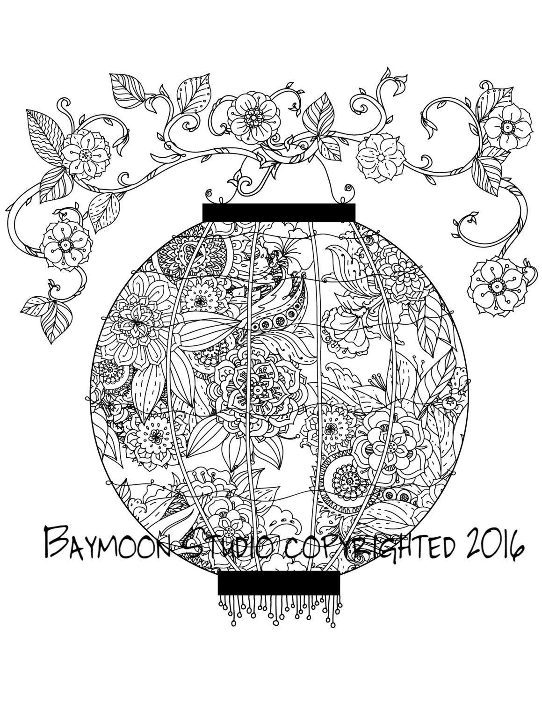 Página para colorear de linterna japonesa 2 por BAYMOONSTUDIO ...