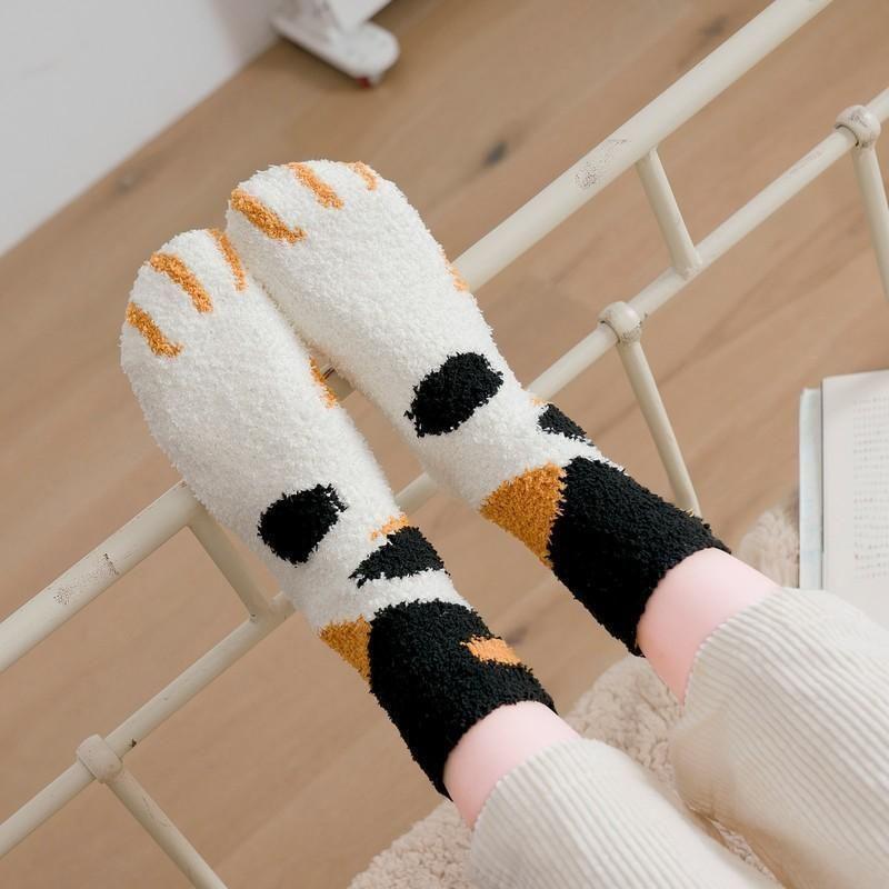 Coral velvet socks female autumn and winter floor socks in the tube thick hot