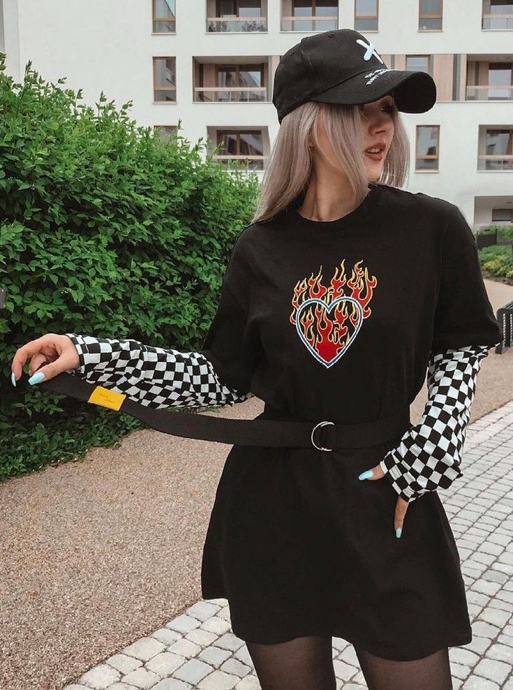 Flaming Heart Shirt with Checkerboard Sleeves