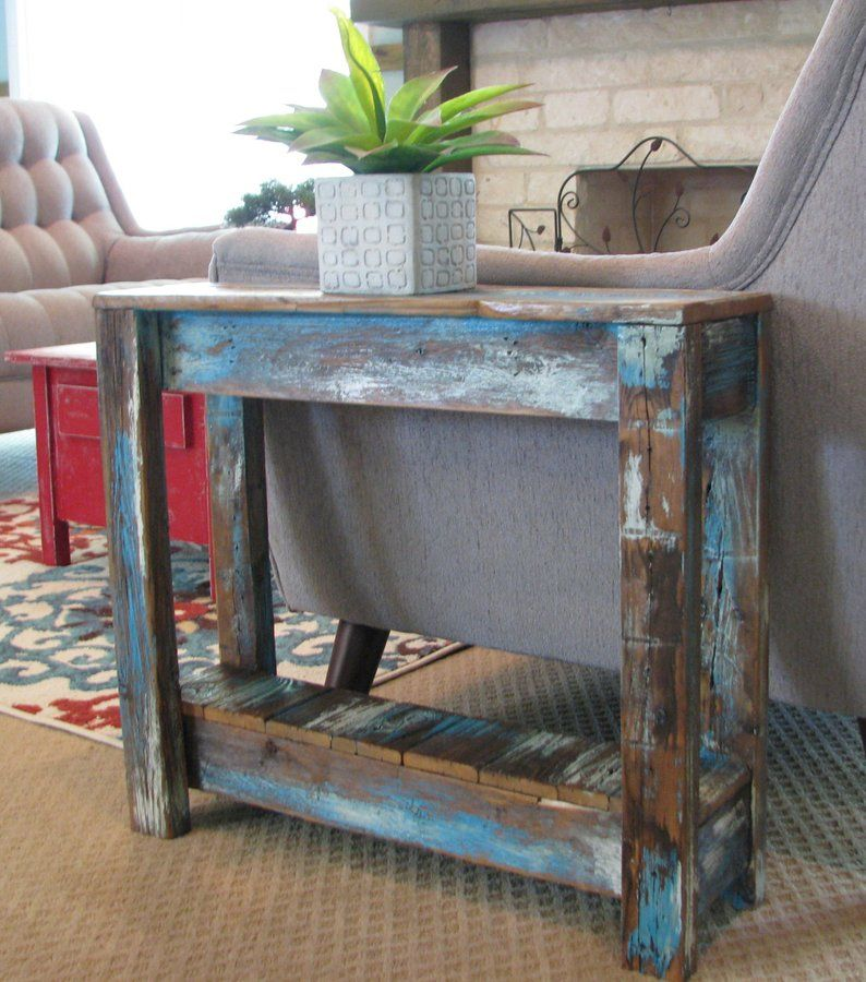 Heavily Distressed Side Table Salvaged Wood Furniture End