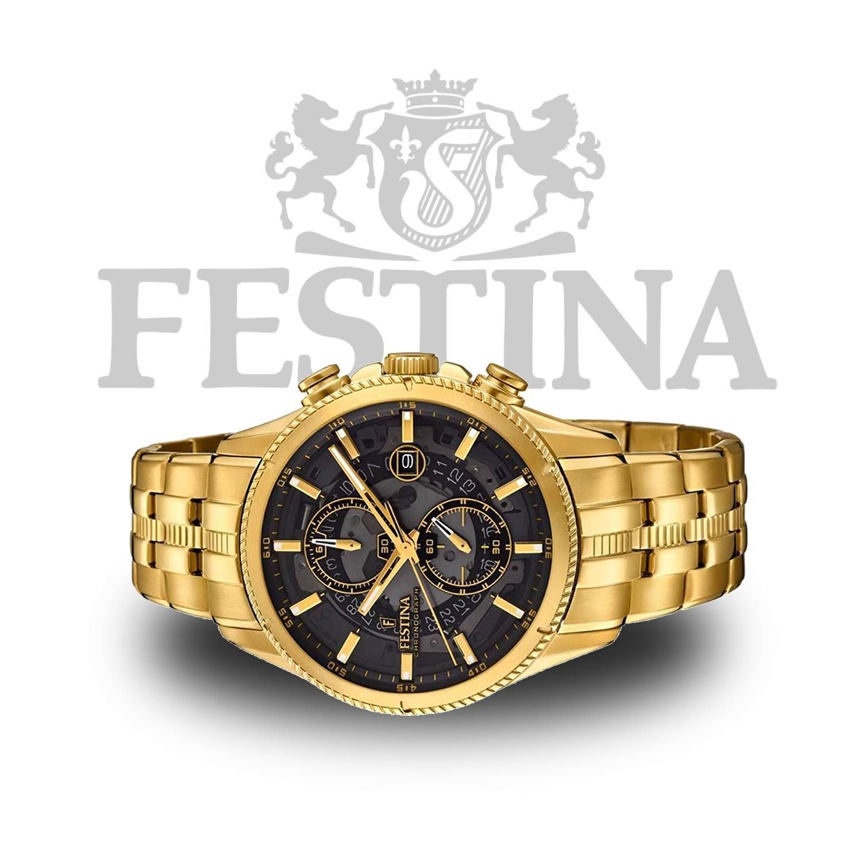 Festina  Chronograph F20269 3 – goldene Herrenuhr aus Edelstahl mit  transparentem Ziffernblatt 1f06e22372